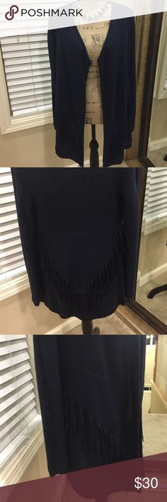 "Softest cardigan! Navy with BOHO fringe adornment Softest cardigan! Navy with BOHO fringe adornment all around. On trend chic style. Small-could also fit medium. Pit to pit measurement is 20"". Asymmetrical hem-30"" in the back and 35"" on the sides. Preloved in great condition. Shoulder to hem of sleeve is 29"". Fringe tassels really accentuate this piece-on trend! ❤️ necklace not included-in separate listing (if interested) INC International Concepts Sweaters Cardigans"