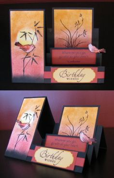 Asian Artistry Side Step by anartisticbent - Cards and Paper Crafts at Splitcoaststampers Fun Fold Cards, Pop Up Cards, Folded Cards, Cool Cards, Step Cards, Side Step Card, Asian Cards, Interactive Cards, Shaped Cards