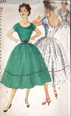 "1950s Misses Full Skirt Summer Party Dress Vintage Sewing Pattern, Low Cut Back Neckline, Simplicity 4637, Bust 36"". $13.00, via Etsy."