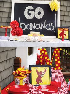 Wish my mom would have done ths !Curious George Party. Lemonade, labeled water, chocolate covered bananas, George pictures in black frames from the dollar store, plain red or blue table cloths, napkins, silverware.