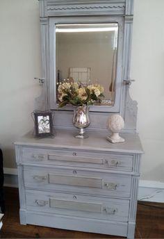 Annie Sloan Paris Grey Antique Dresser and Mirror