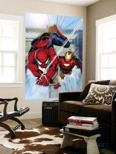 Invincible Iron Man No.7 Cover: Iron Man and Spider-Man Affiche par Salvador Larroca sur AllPosters.fr