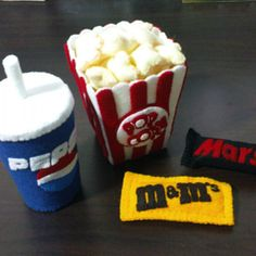 Felt patterns - movie set - popcorn, cola, chocolate bar, candies (felt patterns and tutorial via email)