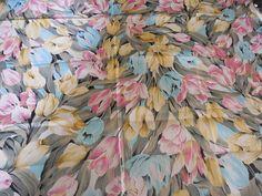 Vintage Charter Fabrics Shiny Pastel Floral Silky by Dockb30Crafts