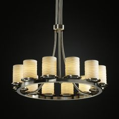 View the Justice Design Group POR-8763 Dakota 12 Light Tall Ring Chandelier from the Limoges Collection at LightingDirect.com.