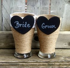 Personalized Wedding Glasses / Wedding by CarolesWeddingWhimsy, This set of Rustic Wedding Toasting Pilsner Beer Glasses are perfect for the beer loving couple.  They have chalkboard hearts that can be monogrammed with Bride and Groom Wedding Glasses, or any combination you would like.  You can find them here https://www.etsy.com/listing/233108655/personalized-wedding-glasses-wedding
