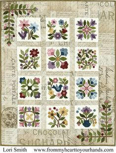 Beautiful appliqué quilt - lots of pretty quilts on this page.
