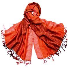 Etole pashmina orange rayures motifs cachemire - Etole pashmina - Mes Echarpes