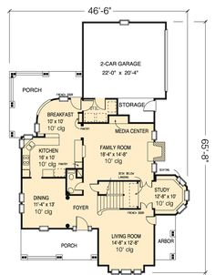 First Floor Plan of Country   Farmhouse  Victorian   House Plan 95560