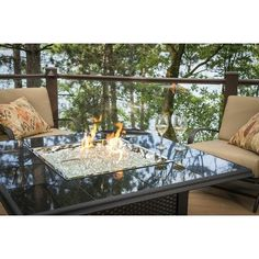 The Outdoor GreatRoom Company Napa Valley Crystal Fire Pit Table Finish: Black