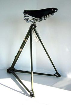 Racer Stool. Half bicycle frame with leather seat and hand-sewn inner-tube feet.