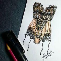 #draw #drawing #fashion #love #corset #inlove #fashionillustration #illustration #lingerie #intimates #instagood  #fashiondesign #designdemoda #moda #art  #arte #croqui #handmade #lookdodia #lookoftheday #lace #vintage #fashion4arts