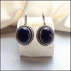 Lapis Lazuli Earrings Pierced Sterling Silver Vintage Jewelry $65