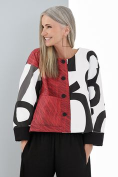 Tally Jacket by Andrea Geer - Typography, L/XL (14-20) (Woven Jacket)