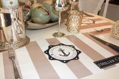 Spring Nautical Placemat PACKAGE  Marine Stripes by TIPgifts, $22.25