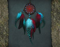 Dreamcatcher wall hanging red blue feather nursery room decor hippie boho Native American inspired dream catcher rear view mirror charm