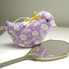 Violet and Cream, Sweet Lavender Bird in Happy Pastels