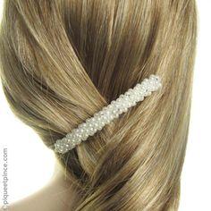 Barrette coiffure mariage perles et strass