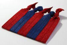 Set of 5 Red & Blue Hair Ties Ponytail Holders FOE by ElenasBows, $5.00 #hair, #hairties, #ponytailholder, #hairbands, #red, #blue, #elenasbows