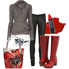 Red Poppy.  I like the top and the bag, the pants look uncomfortable.