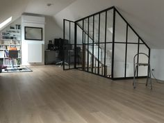 custom made canopy - Workshop interior canopy - AKR French Design - AKR French Design - Angela Williams Attic Bedroom Designs, Attic Rooms, Modern Staircase, Staircase Design, Loft Conversion Rooms, Loft Design, House Design, Garage To Living Space, Tiny House Cabin