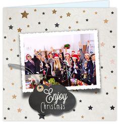 Zakelijke foto kerstkaart met hippe sterren, krijtbord print en brons look. Enveloppen los bij te bestellen!