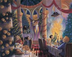 Christmas in the Great Hall by Mary GrandPré