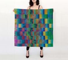 Geometric silk scarf  Colorful design  red green blue