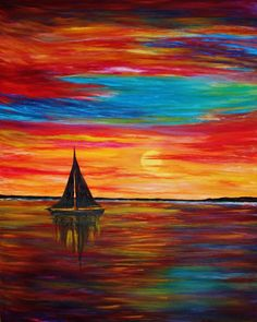 """ORIGINAL OIL PAINTING """"Sail and Sunset"""" seascape boat sky sea ocean abstract  #Abstract"""