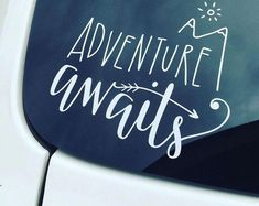This Adventure Awaits car / laptop decal is a cute and fun way for anyone on the go to show that they loves seeking adventure & traveling! Place it on your car window, laptop, mirror, or any smooth surface of your choosing. Get one for yourself or for a f Jeep Jk, Jeep Wrangler, Jeep Decals, Vinyl Decals, Cute Car Decals, Car Window Decals, Kayak Decals, Vehicle Decals, Wall Decal