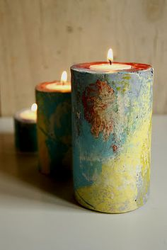 Advent candle holders    diy; The production is very easy, you only need plaster and cardboard tubes