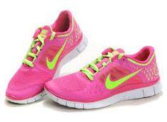 a4675b7dd359 Nike Free Run 3 Womens Running Pink Green Shoes