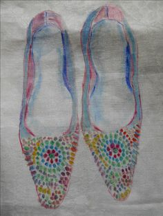 Hand painted onto vintage linen, these are similar to a pair from the 1950's by Christian Dior https://www.facebook.com/Jacq-Brill-Art-423428194459839/