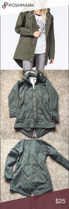 Full tilt parka Brand new without tags Twill (fake) fur lined parka with a drawstring waist. Slightly longer in back with lots of pockets Full Tilt Jackets & Coats