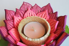 PInk water lily candle