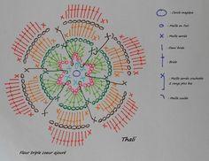 Le diagramme de la fleur triple cœur ajouré