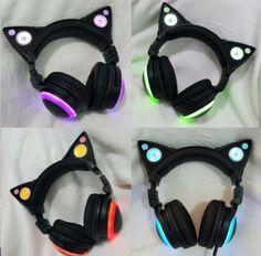 PURPLE Cat-Ear-Gaming-Mic-Headphones-LED-Speakers-Music-Audio-Lights-USB-Rechargeable