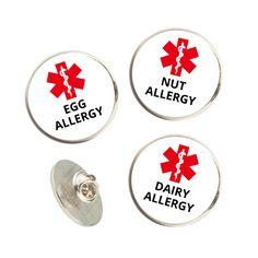 Allergy Alert Pin Lapel Badge - 22mm / Allergies / Medical - Food , Dairy , Eggs , Nuts , Peanuts , Shellfish , Wheat , Gluten , Bee , Wasp Pin Badges, Egg Allergy, Lapel Pins, Nut Allergies, Scratch Off, Wasp, New Baby Gifts, Print Design, Bee