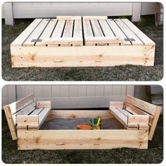 Great idea kids sandbox fun diy project wooden box convertible benches summer backyard play