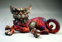 Raku Cat sculpture folk art ceramic pottery by face jug maker Mitchell Grafton