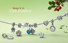 A PANDORA sterling-silver charm bracelet with family-related charms. Like Capri…