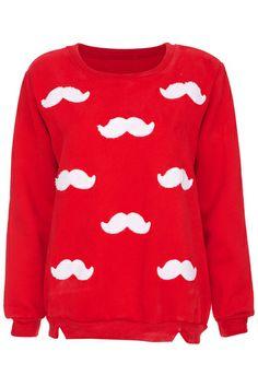 ROMWE | ROMWE Moustache Stitching Long-sleeved Red Sweatshirt, The Latest Street Fashion