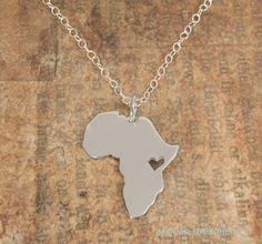 1 stuks- n034 afrika-professioneel-efficiënt-concurrerend schets kaart ketting met hart land van zuid-afrikaanse kaart ethiopië ciondolo afrika-professioneel-efficiënt-concurrerend kettingen ketting