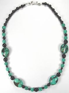 big turquoise and onyx necklace