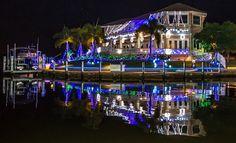 Christmas lights in Punta Gorda Isles, Punta Gorda, Florida.