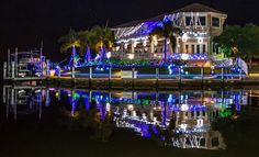 Christmas lights in Punta Gorda Isles, Punta Gorda, Florida.