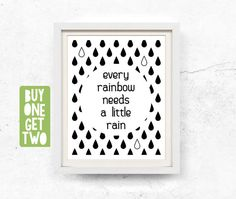 Rainbow illustration, Inspirational quote, Printable wall art, Rainbow, Black and white, Wall art, woodland, Quote, Prints, 8x10, 11x14