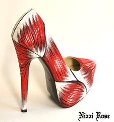 Zombie Skinless platform heels by NixxiRose on Etsy, Crazy Shoes, New Shoes, Me Too Shoes, New Zombie, Shoe Boots, Shoes Heels, Pumps, Shoe Crafts, Painted Shoes