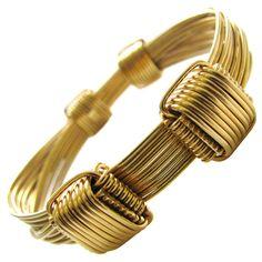 "GUCCI Gold ""Elephant Hair"" Bangle Bracelet . Circa 1970s"