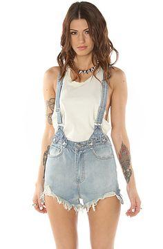 High waisted short overalls
